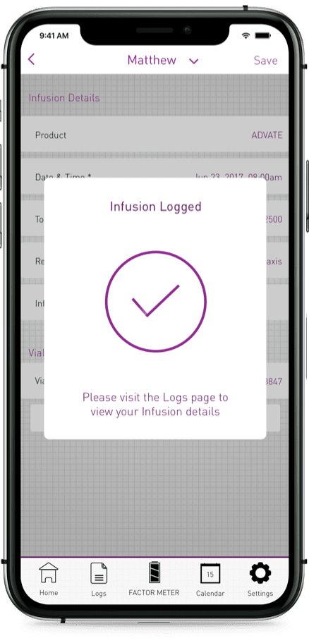 Picture of a smartphone with a successfully logged infusion screen